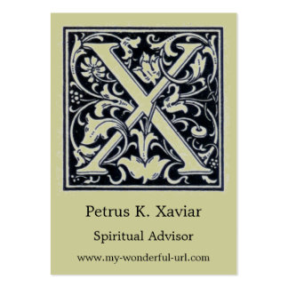 """Decorative Letter """"X"""" Woodcut Woodblock Initial Large Business Card"""