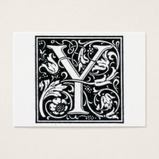 "Decorative Letter ""Y"" Woodcut Woodblock Initial Business Card"