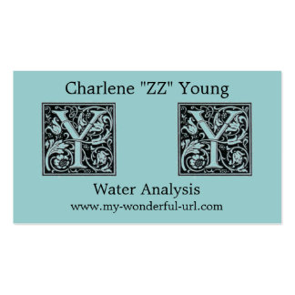 "Decorative Letter ""Y"" Woodcut Woodblock Initial Double-Sided Standard Business Cards (Pack Of 100)"