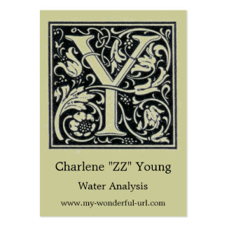 """Decorative Letter """"Y"""" Woodcut Woodblock Initial Large Business Card"""