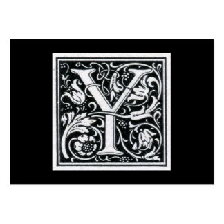 """Decorative Letter """"Y"""" Woodcut Woodblock Initial Large Business Cards (Pack Of 100)"""