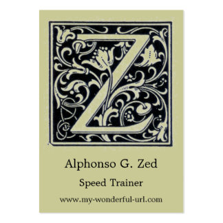 """Decorative Letter """"Z"""" Woodcut Woodblock Initial Business Card Templates"""