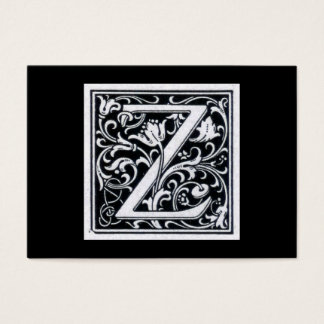 "Decorative Letter ""Z"" Woodcut Woodblock Initial Business Card"