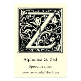 """Decorative Letter """"Z"""" Woodcut Woodblock Initial Large Business Card"""
