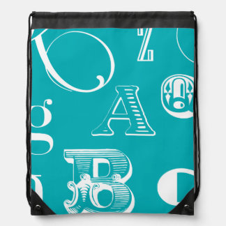 Decorative Letters on Blue Background Drawstring Bag