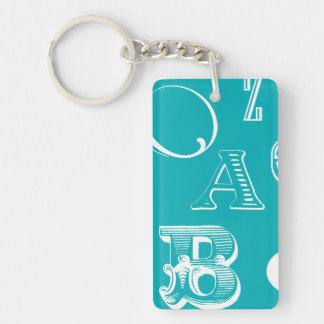 Decorative Letters on Blue Background Keychain