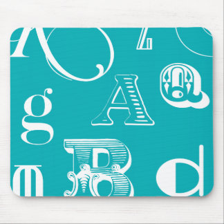 Decorative Letters on Blue Background Mouse Pad