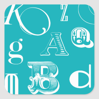Decorative Letters on Blue Background Square Sticker