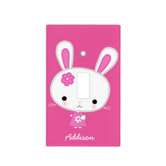 Decorative Light Switch Covers Cute Pink Bunny