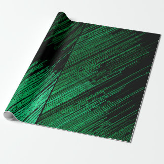 Decorative line art, green stripes on black canvas wrapping paper