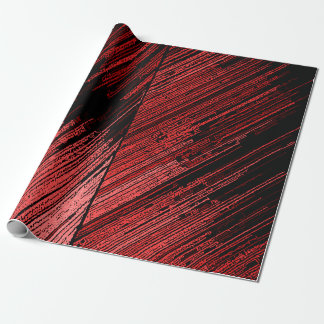 Decorative line art, red stripes on black canvas wrapping paper