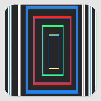 Decorative Line Graphics Colorful Art on Gifts FUN Square Sticker