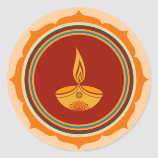 Decorative Lotus Diwali Design Classic Round Sticker