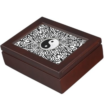 Decorative Mandala BlackWhite YinYang Keepsake Box