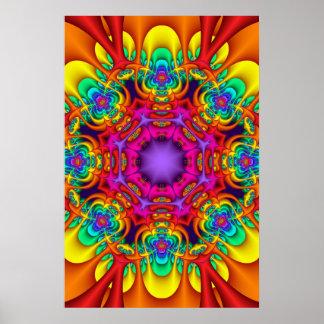 Decorative mandala poster in rainbow colors