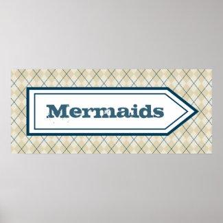 Decorative Mermaid Sign Poster