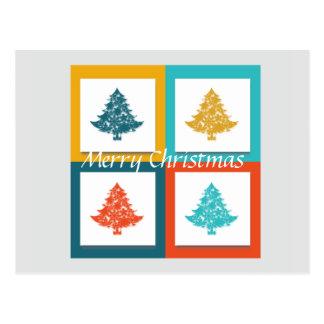 Decorative Merry Christmas Tree Postcard