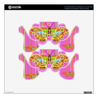 Decorative Modern Butterfly Pink Art Design PS3 Controller Skins