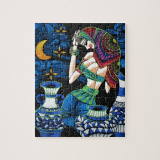 decorative moonlight girl portrait abstract art jigsaw puzzles