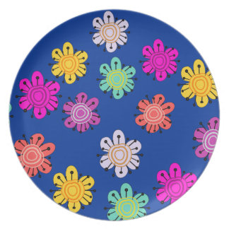Decorative Multicolored Flower Plate (navy)