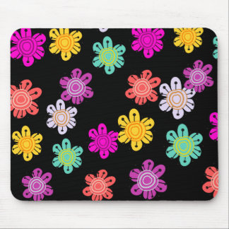 Decorative Multicolored Flowers Mouse Pad