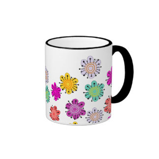 Decorative Multicolored Flowers Ringer Coffee Mug