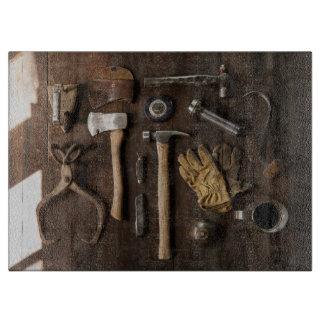 "Decorative Old Tools Glass Cutting Board 15""x11"""