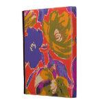 Decorative orange and purple floral pattern iPad folio case