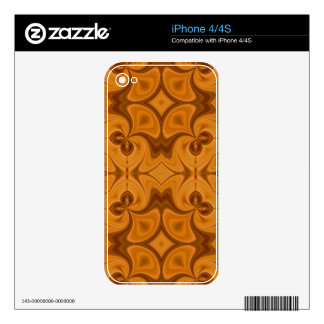 Decorative Orange wood pattern Decals For The iPhone 4