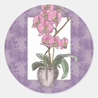 Decorative Orchid Design Classic Round Sticker