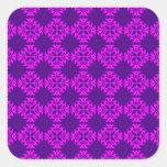 Decorative Ornate Vintage Pink on Purple Damask Square Sticker