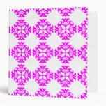 Decorative Ornate Vintage Pink on White Damask Vinyl Binders