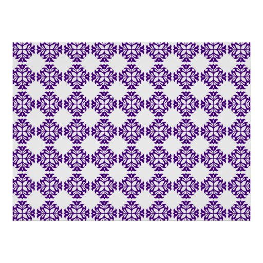 Decorative Ornate Vintage Purple on White Damask Posters