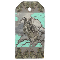 DECORATIVE OWL WILDERNESS GREY DESIGN WOODEN GIFT TAGS