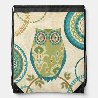 Decorative Owl with Circular Designs Cinch Bags