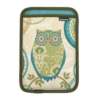 Decorative Owl with Circular Designs Sleeve For iPad Mini