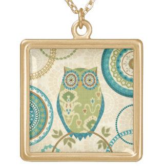 Decorative Owl with Circular Designs Necklaces