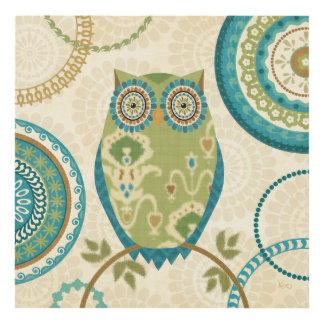 Decorative Owl with Circular Designs Panel Wall Art