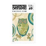 Decorative Owl with Circular Designs Postage