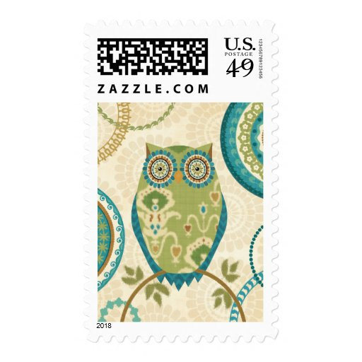 Decorative Owl with Circular Designs Postage Stamps