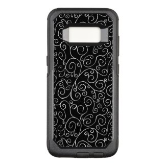 Decorative Painted White Curves on Black OtterBox Commuter Samsung Galaxy S8 Case