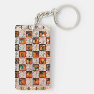 Decorative Patron Rectangle-double-sided-Key-chain Keychain