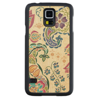 Decorative Peacock and Colorful Flowers Carved Maple Galaxy S5 Slim Case