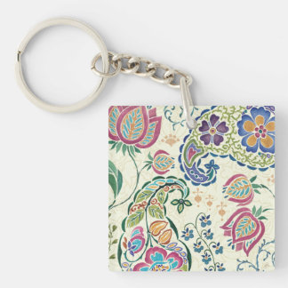 Decorative Peacock and Colorful Flowers Keychain