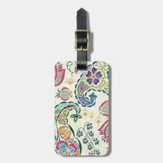 Decorative Peacock and Colorful Flowers Luggage Tag