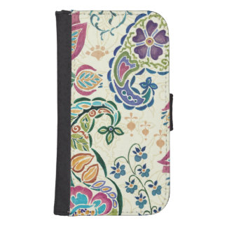 Decorative Peacock and Colorful Flowers Samsung S4 Wallet Case