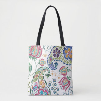 Decorative Peacock and Colorful Flowers Tote Bag