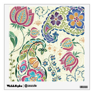 Decorative Peacock and Colorful Flowers Wall Sticker