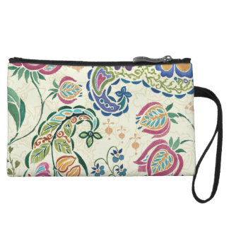 Decorative Peacock and Colorful Flowers Wristlet