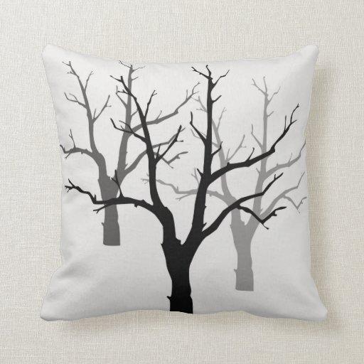 Decorative Pillows Black And Grey : Decorative Pillow Black And Gray Tree Design Zazzle
